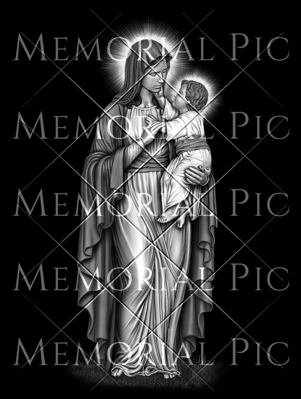 Virgin Mary with baby Jesus laser etching