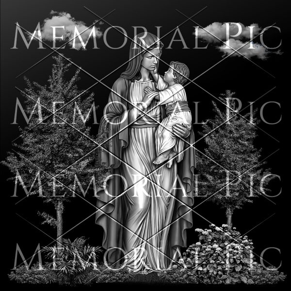 Virgin Mary with Child Jesus scene laser etching